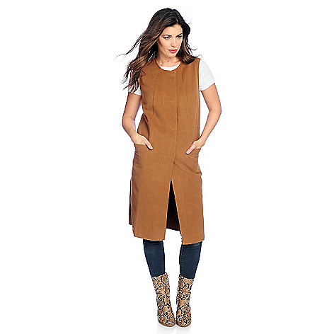 Woven Snap Front Two-Pocket Duster Vest