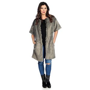 Faux Fur Elbow Sleeved Two-Pocket Topper Jacket