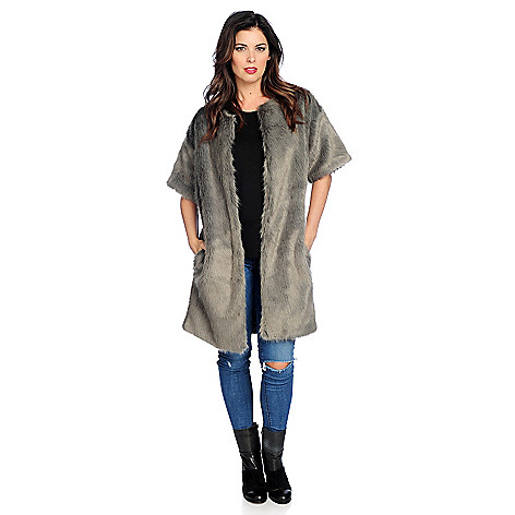 Faux Fur Elbow Sleeved…
