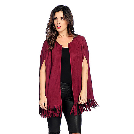 Faux Suede Hook Front Fringed Cape