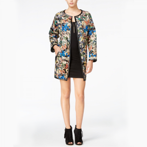 Reversible Printed Faux-Leather-Trim Jacket