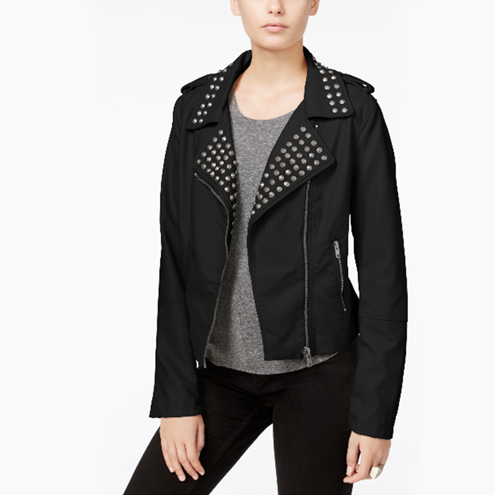 Studded Faux-Leather…