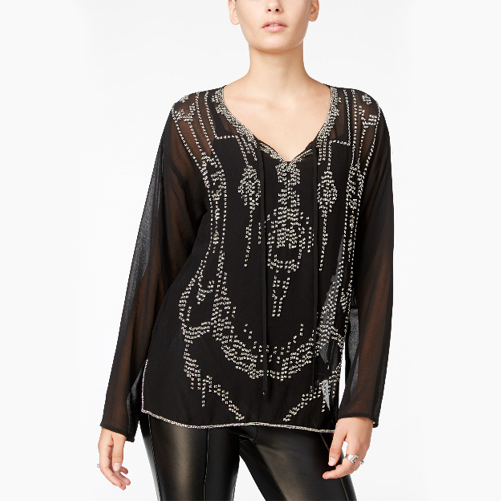 Sheer Beaded Top