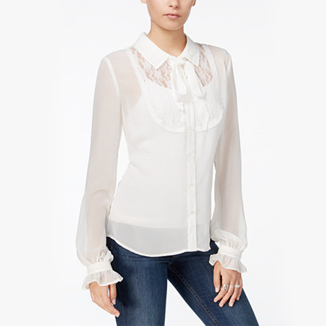 Sheer Lace-Contrast Bow Blouse