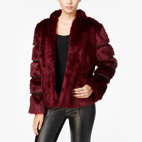 Faux-Fur Contrast-Trim Coat