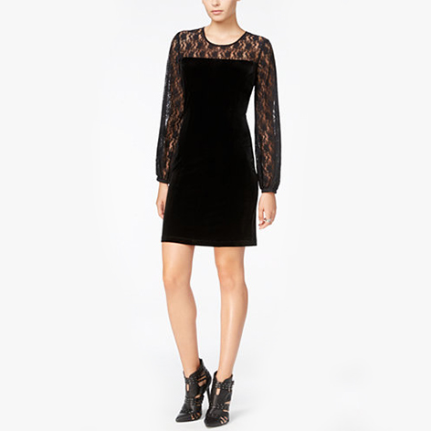 Velour Lace-Contrast Dress