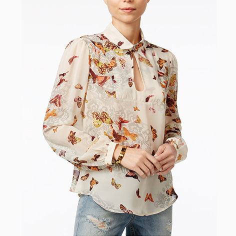 Butterfly-Print Blouse
