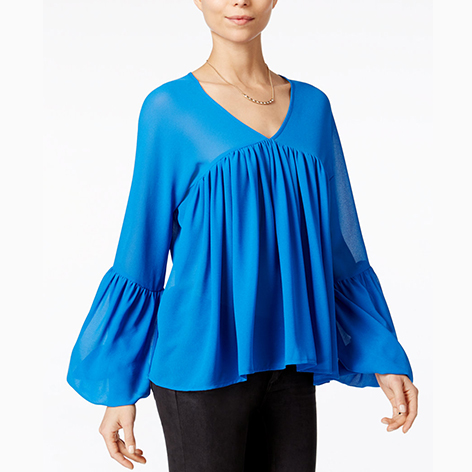 Pleated Bell-Sleeve…
