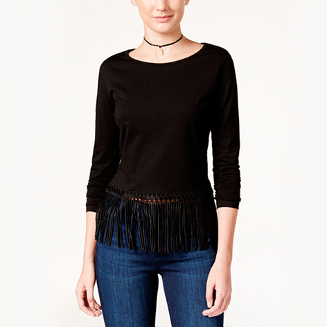 Long-Sleeve Fringe Top
