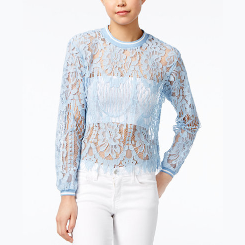 Lace Bishop-Sleeve Top