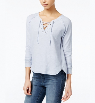 Cotton Lace-Up Top