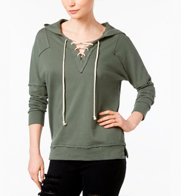 Cotton Lace-Up Hoodie