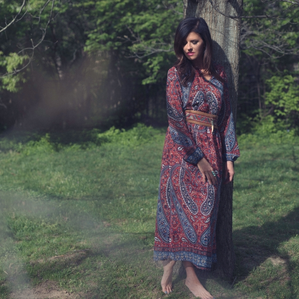 Printed Woven Long Sleeved Maxi Dress w/ Removable Slip